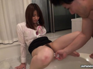 Asian office lady getting..