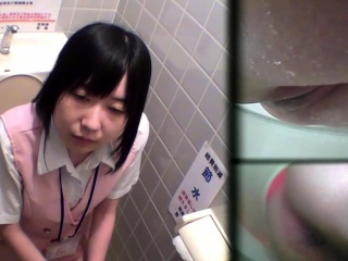 Asian teen pees in toilet