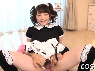 Adorable maid pleases man..