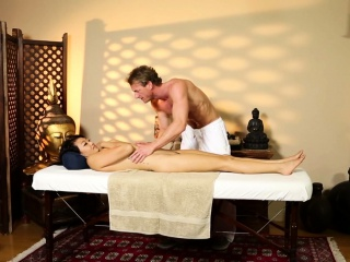 Oriental babe massaged and..