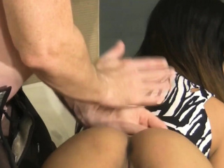 Asian cute babe gets hard..