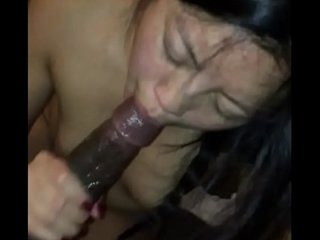 Asian amateur sucks black..