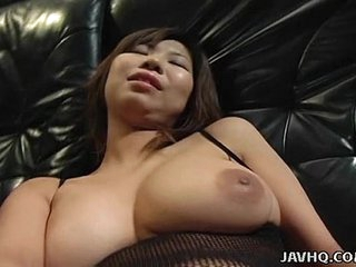 Big tits Asian babe toy..