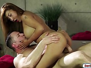 Busty asian masseuse gives..